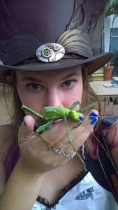 Nancy with a Malaysian Jungle Nymph. This is one of the exotic species we have because of the UGA permits.