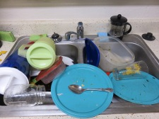Joe's sink after a weekend of eventful cooking. If you get busy and forget your dishes, expect flies after a few days.