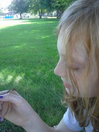 Joe's daughter handling a male wasp. Picture credit: Joe Ballenger