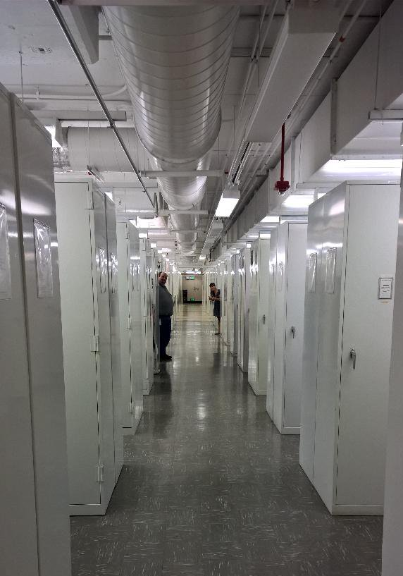 These compactors are how you store seven football fields worth of organisms in only a few floors worth of space.Each compactor weighs 25,000lbs.