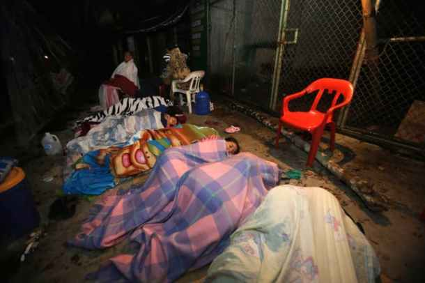 After moving inland, leaving their houses behind (if they still had a house) people are just sleeping in the streets. Indefinitley. PC: The Quint