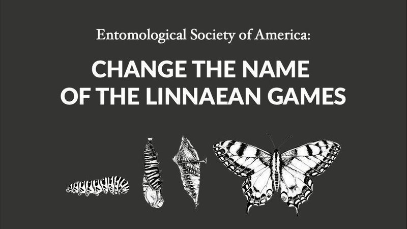 "Says ""Entomological Society of America: Change the Name of the Linnean Games"" on a black background with black and white images of an Eastern Black Swallowtail caterpillar, the pupae, and the adult butterfly."